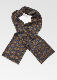 Vintage Silk Scarf with Retro Paisley Print