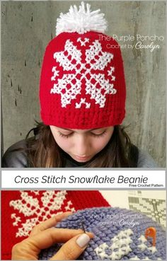 The Cross Stitch Snowflake Beanie is so fun to make! This hat features a counted cross stitch design that makes a snowflake. Start by making your crochet hat and add this pretty design for a stylis… Quick Crochet, Free Crochet, Knit Crochet, Crochet Cross, Double Crochet, How To Make Snowflakes, Crochet Snowflakes, Knitting Patterns, Crochet Patterns