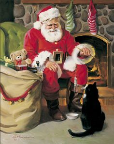 Santa taking a rest and visiting a sweet feline friend.