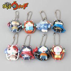 8pcs Anime Yo-Kai Watch Jibanyan Figure Keychain Keyring Yokai Youkai Toy Doll