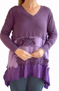 Ombre Floral Sweater Tunic L/XL Large Lagenlook Lavender Purple Flower Recycled Eco Friendly Fashion