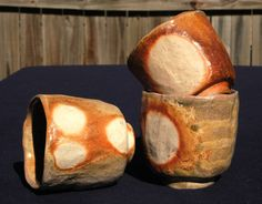 Trio of Hand Built Wood Fired Tumblers or Tea by TheBrownPottery, $40.00