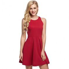 Lady Womens Casual O-Neck Off-shoulder A-line Tank Mini Dress