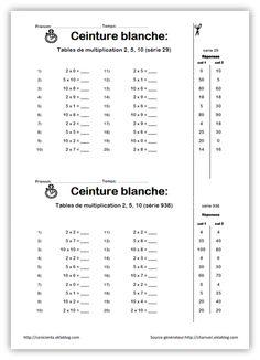 ceinture tables 1 Math Multiplication, 3rd Grade Math, Grade 3, Cycle 3, Tables, School, Diy, Ideas, Multiplication Drills