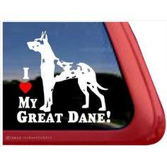 I Love My Great Dane! ~ Harlequin Great Dane Vinyl Window Auto Decal Sticker