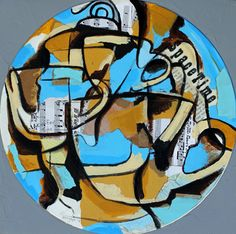 Coffee Time, Mixed media on LP record on canvas. ©2014 Mark Nobriga marknobriga.com All rights reserved.