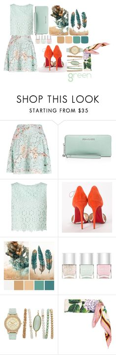 """Green"" by selen-l ❤ liked on Polyvore featuring MSGM, MICHAEL Michael Kors, Miss Selfridge, Christian Louboutin, Nails Inc. and Dolce&Gabbana"