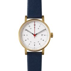 VOID VOID V 03 D Gold White Navy Watch (£135) ❤ liked on Polyvore featuring jewelry, watches, gold jewelry, yellow gold jewelry, analog watches, water resistant watches and art deco watches