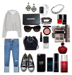 """Take It Easy"" by teresalcaine on Polyvore featuring Zara, Converse, Lacoste, Chanel, Casetify, Kenneth Cole, Armani Beauty, Smashbox and Christian Dior"
