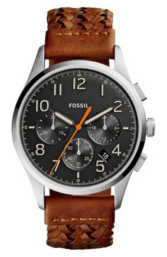 Main Image - Fossil Vintage 54 Chronograph Leather Strap Watch, 42mm