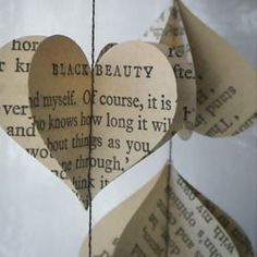 Sweet and whimsical garland made from vintage books