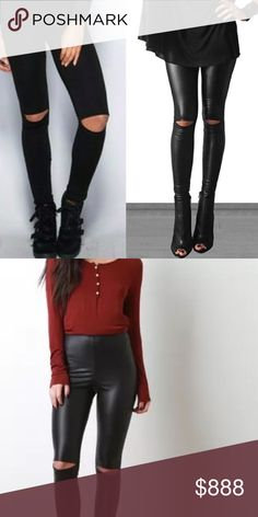 COMING SOON! Vegan Leather Slit Knee Leggings These leggings are the perfect mix of style and function.  High waisted with stretch that flatters your curves and gives you a lift.  COMING SOON! Pants Leggings