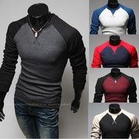 Wish   Men's Long Sleeve O-Neck Cotton Shirts(color based on body)