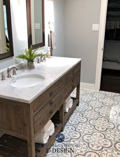 Bathroom remodel. Kylie M Interiors Edesign, paint color consultant. Sherwin Williams Argos, farmhouse wood vanity, cement patterned floor tile #edesign #kylieminteriors #kyliemedesign #argos #farmhousebathroom #farmhousestyle #cementtile