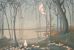 drawing Illustration landscape trees night forest bunny rabbit new moon mushrooms dar 1927 the new moon shirley kite virginia baker g. Art And Illustration, Rabbit Illustration, Bunny Art, Art Graphique, Childrens Books, Fairy Tales, Drawings, Artwork, Photos