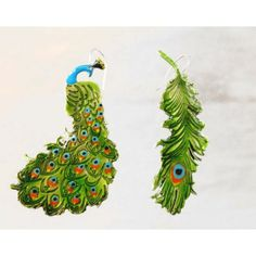 handmade earrings made of silverplated brass Earrings Handmade, Pop Art, Peacock, Brass, Christmas Ornaments, Holiday Decor, My Style, Art Pop, Peacocks