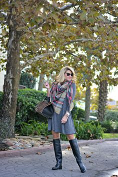 Outfit | Holiday Leopard Bag with boots and Plaid Blanket Scarf