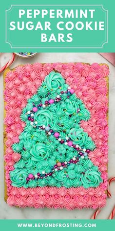 Spread some holiday cheer with these festive Peppermint Sugar Cookie bars. This easy sugar cookie recipe is loaded with peppermint crunch. You'll also love this step by step tutorial to decorate these bars! #sugarcookies #christmascookies #cookiebar Sugar Cookie Recipe Easy, Sugar Cookie Bars, Easy Sugar Cookies, Christmas Tree Cupcake Cake, Christmas Cookies, Christmas Sweets, Christmas Recipes, Merry Christmas, Frosting Colors