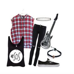 """5SOS' Michael Clifford in """"She Looks so Perfect"""" Break boundaries this Halloween in a look that is borrowed from the boys. The 5 Seconds of Summer boys, that is. A band tee, over-sized, sleeveless flannel shirt, black skinnies, a tattoo choker, and black skate shoes will make you look like the total rocker chick you really are. For added fun, you can even carry around an inflatable guitar to reinforce just how rock-n-roll you look. #halloween #Halloween2014 #diyhalloweencostumes…"""