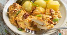 Fileciki z kurczaka w kremowym sosie z marchewką i suszonymi pomidorami Potato Salad, Cauliflower, Food And Drink, Potatoes, Chicken, Meat, Vegetables, Ethnic Recipes, Dinners