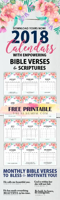Fall in love with these 2018 calendar printables! The monthly bible verses and scriptures will inspire you immensely! #2018 #calendar #planner #printable