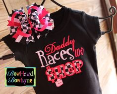 Daddy Races we Shop Checkered Applique Black Shirt or Onesie and Matching Hair Bow set for Girls. $28.00, via Etsy.