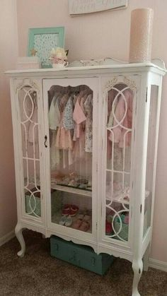 Old china hutch into a little girls wardrobe