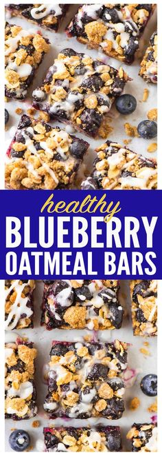 These buttery Blueberry Oatmeal Bars are only 105 calories each! Juicy blueberries, butter brown sugar crust, with a sweet vanilla glaze. Perfect for a healthy dessert or breakfast with Greek yogurt on busy mornings! Recipe at wellplated.com | @wellplated