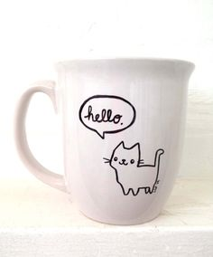 HandDrawn Mug Talking Kitty Saying Hello Cute Cat by BraveMoonman, $12.00