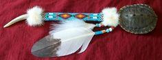 Native American rattle. Peyote beading on handle. Turtle shell