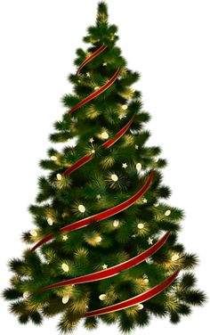 Large Transparent Christmas Tree with Red Ribbon Clipart