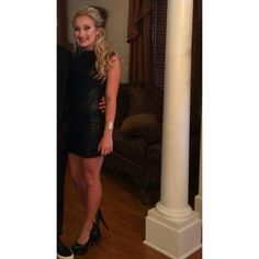 BCBGMaxazira Black Leather Cocktail Dress Worn once for my junior homecoming! In great condition. Very simple and stylish BCBGMaxAzria Dresses Mini