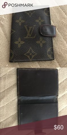 Authentic Vintage Louis Vuitton Credit Card Case Classic monogram & leather shows normal wear. Plastic card insert not included. Has lots of life left! Louis Vuitton Accessories Key & Card Holders