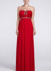 Dare to make a captivating entrance on prom night in this ravishing red thriller! Strapless bodice features eye catching keyhole sweetheart neckline. Empire waists is adorned with dazzling beaded detail. Long and soft sheer matte jersey material gives this stunning dress a whimsical feel. Fully lined. Imported polyester. Back zip. Professional spot clean. Available in Plus sizes as Style 8420T86W.A popular neckline for brides seeking a stylish and versatile look (offering unlimited jewelry…