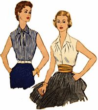50s clothing Shirts, blouses, tops were worn with skirts, pants and shorts. They were fitted to the waist but not tight. Sleeves came in long, short, cap sleeves, or sleeveless. Bows were a popular decoration as well as frilly lace and narrow pleating. Classic collars- Pointed collars fasted to a small V neckline. They were often in white but pastels were common too. They were the most tailor or menswear looking.