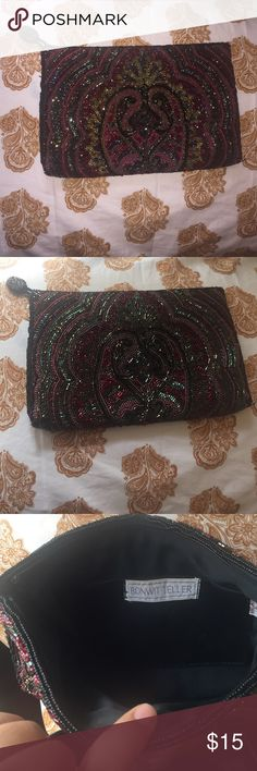 Beautiful clutch Has been used lightly, can be used as makeup bag or clutch Bonwit teller Bags Clutches & Wristlets