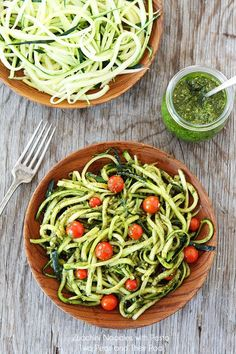 Zucchini Basil Pesto with Fresh Cherry Tomatoes (Looks like pasta fool your family) I love it served warm!.