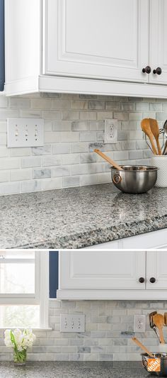 Let The Home Depot install your kitchen backsplash for you. It's quick, easy, . Let The Home Depot install your kitchen backsplash for you. It's quick, easy, and more affordable than you might think. Click through to find out more. Kitchen Redo, Kitchen Tiles, Kitchen Countertops, New Kitchen, Kitchen Design, Kitchen Cabinets, Basic Kitchen, Backsplashes With White Cabinets, Kitchen Granite Countertops