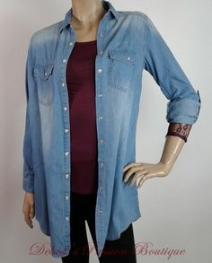 Denim Rules Long Sleeve Snap Front Top - Debra's Passion Boutique - 2