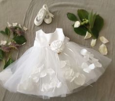 Soft Ivory White Tulle and Petals Baptism Dress, Fancy Frilly Rose Petals Special Ocassion Dress, Weddings Flower Girl Birthday Dress
