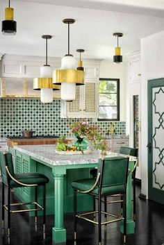 WHITE AND GOLD KITCHEN LIGHTING IDEAS SMALL KITCHEN Modern Kitchen Lighting, Kitchen Lighting Fixtures, Dining Room Lighting, Light Fixtures, Modern Lamps, Kitchen Chairs, Kitchen Tiles, Kitchen Decor, Dining Chairs