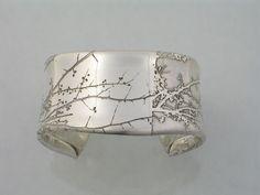 """etched sterling silver """"Branch"""" bracelet by Sandra Noble Goss #SterlingSilverBracelets"""