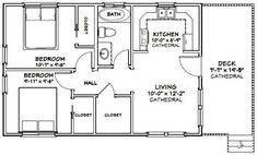 2 Bedroom Floor Plans, Small House Floor Plans, Cabin Floor Plans, Apartment Floor Plans, Apartment Ideas, The Plan, How To Plan, 20x30 House Plans, Duplex House Plans