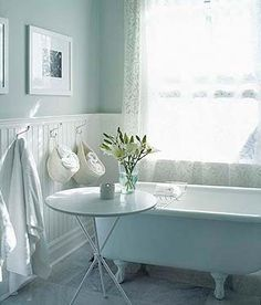 Coastal: Hamptons blue & white bathroom with freestanding tub and wainscoting wall panels.