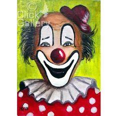 "ACEO Original miniature Clown Portrait, 2,5"" x 3.5"", OAK,acrylic painting, tiny art, ATC collectible, nursery gift"
