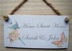 PERSONALISED Shabby Chic house warming gift french vintage decoupage plaque sign