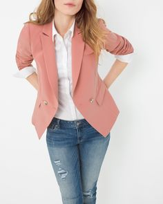 "Precision tailoring makes a stand out statement on this trophy jacket with sharp peaked lapels and shaping princess seams. Also of note, the blazer's matte silvertone buttons with faceted details, slanted flap pockets and angled hem. For a sleek look, wear it with coated black denim jeans, or tone things down and pair with a pocket tank and distressed denim for a casual take. Double-breasted blazerFully linedPolyester/rayon/spandex. Machine wash, cold.  Regular: Approx. 27.5"" from shoulder…"