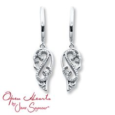 Diamond Dangle Earrings 1/20 ct tw Round-cut  Sterling Silver - Merry Christmas to me <3