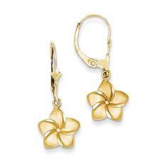 14k Satin & Diamond-Cut Plumeria Dangle Leverback Earrings