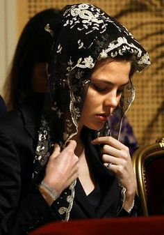 Catholic Mantilla - Will You Mantilla With Me?: Charlotte of Monaco wearing a mantilla